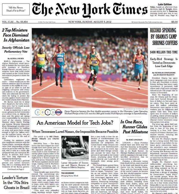Oscar Pistorius en NYTimes / Crédito: @nytjim