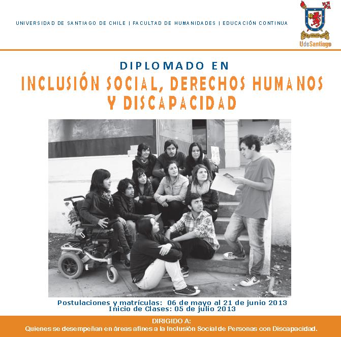 """Diplomado """"Inclusión Social, Derechos Humanos y Discapacidad"""" Usach"""