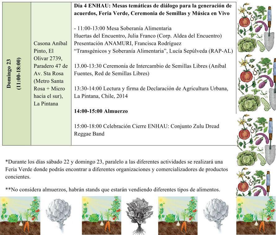 Encuentro Nacional de Huertos y Agricultura Urbana - Programa domingo 23
