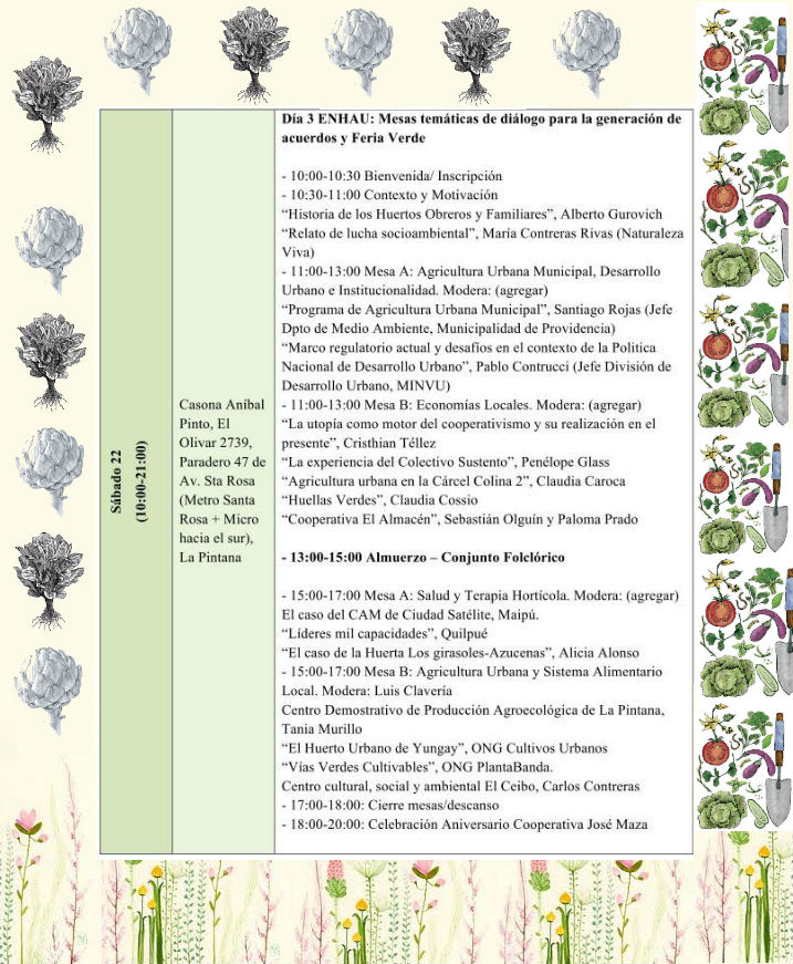 Encuentro Nacional de Huertos y Agricultura Urbana - Programa sábado 22