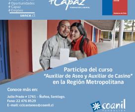Afiche Curso Auxiliar de Aseo y Auxiliar de Casino - Fuente: Coanil.