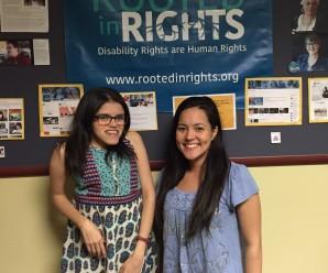 Andrea Medina de Integrados Chile y Tina Pinedo de Rooted in Rights