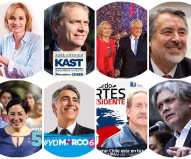 Collage con fotografías de los candidatos y candidatas presidenciales