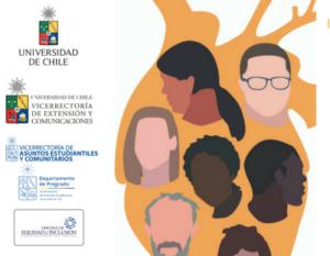 Ilustración de silueta de un corazón humano con rostros en su interior y logos de la Universidad de Chile - Fuente: Universidad de Chile