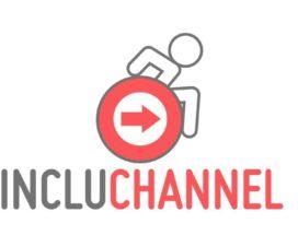 Logo de Incluchannel, ilustración de una persona usuaria de silla de ruedas activa.