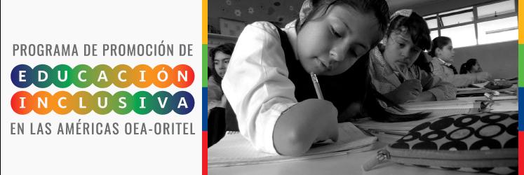 Texto Seminario de Promoción de Educación Inclusiva en las Américas e imagen de niña con discapacidad física escribiendo.