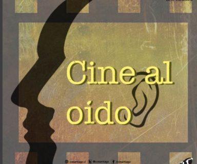 Texto Cine al Oído sobre la silueta de un rostro