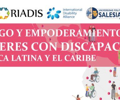 Afiche con el nombre del curso Fortalecimiento del liderazgo y empoderamiento de mujeres con discapacidad de la región de América Latina y el Caribe y logos de organizaciones participantes.