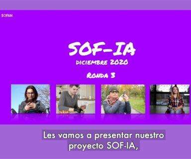 Sobre fondo morado dice SOF-IA y aparecen cuatro fotos de personas con discapacidad usando celulares.