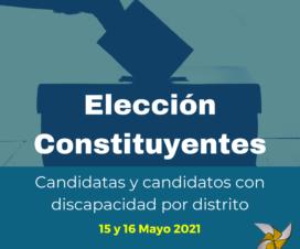 En la parte superior hay una mano ingresando un voto a una urna y abajo sobre fondo azul dice Elección Constituyentes 15 y 16 de mayo de 2021
