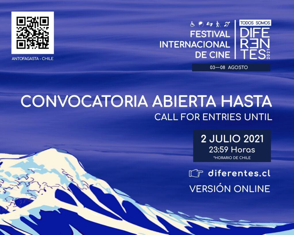 Sobre fondo azul que simula ser mar, dice Festival Internacional de Cine Todos Somos Diferentes, convocatoria abierta, 2 de julio, 23:59 horas, diferentes.cl