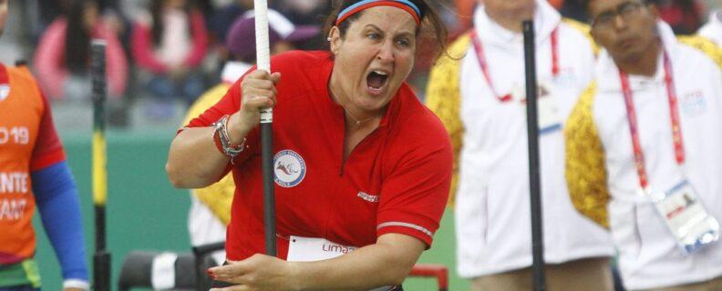 Francisca Mardones realizando un lanzamiento de bala en los Juegos Parapanamericanos Lima 2019.