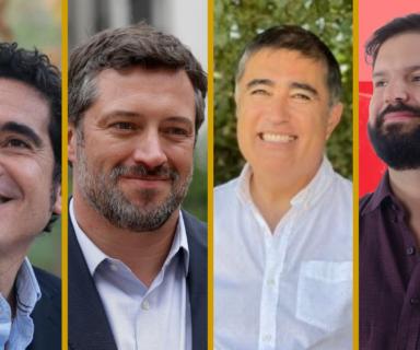 Sobre fondo color mostaza, están las fotos de los candidatos Joaquín Lavín Infante, Ignacio Briones Rojas, Sebastián Sichel Ramírez, Mario Desbordes Jiménez, Gabriel Boric Font y Daniel Jadue Jadue.