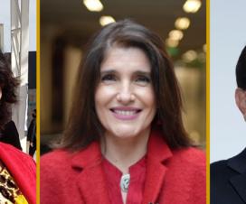 Sobre fondo color mostaza, de izquierda a derecha están las fotografías de Yasna Provoste Campillay, Paula Narváez Ojeda y Carlos Maldonado Curti.